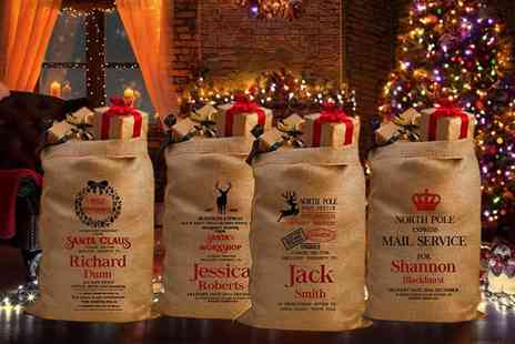Deco Matters - Personalised hessian Christmas sack choose from five designs - Save 65%