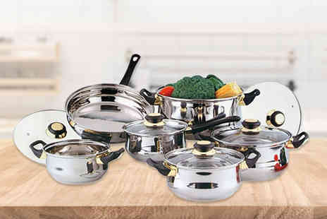 Groundlevel - 12 piece stainless steel cookware pan set get kitted out in the kitchen - Save 75%