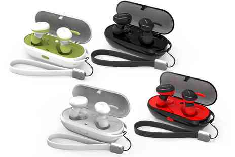 Groupon Goods Global GmbH - One or Two Pairs of Bluetooth Earbuds with Charging Case - Save 0%