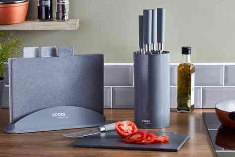 Groupon Goods Global GmbH - Cooks Professional Four Piece Granite Effect Chopping Board Set, Six Piece Kitchen Knife Set or Both - Save 0%