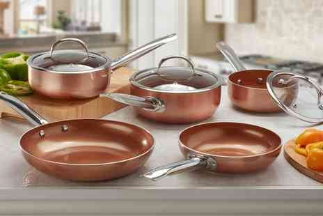 Groupon Goods Global GmbH - Two, Three or Five Piece Cooks Professional Copper Ceramic Pan Set - Save 0%