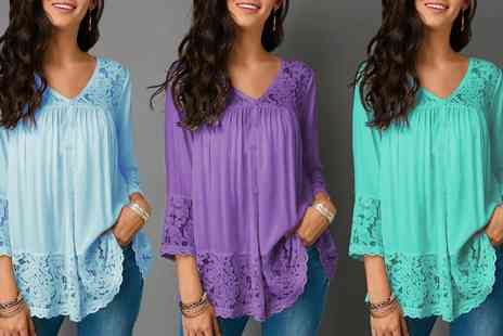 Groupon Goods Global GmbH - Womens Lace 3 or 4 Sleeve Blouse - Save 0%