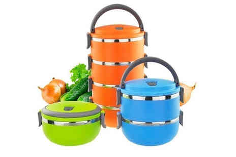 Secret Storz - Set of 1,2,3, or 4 stackable thermal insulated food containers choose from three colours - Save 82%
