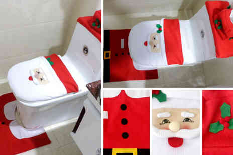 WowWhatWho - Three piece Christmas toilet seat cover set - Save 70%