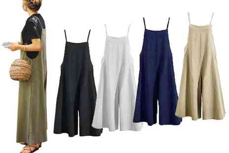 Boni Caro - Wide leg womens jumpsuit with adjustable straps choose from five colours and four sizes - Save 60%