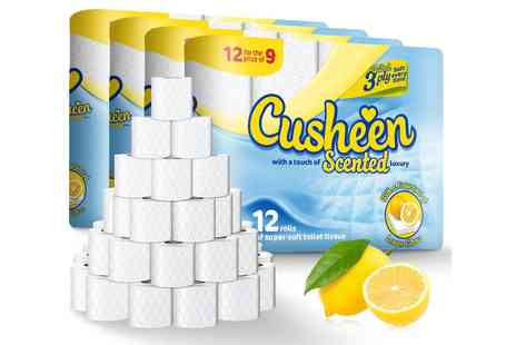 Groupon Goods Global GmbH - 120 Rolls of Cusheen Lemon Three Ply Toilet Paper - Save 0%