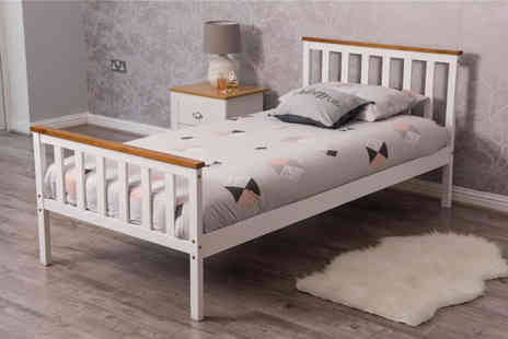 Dreams Outdoors - Single pine wood bed frame, double bed frame or double bed frame with mattress choose from two colours - Save 0%
