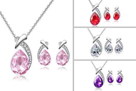 Your Ideal Gift - Pear cut crystal jewellery set - Save 0%
