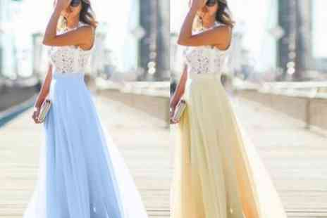 Blu Fish - Lace chiffon maxi dress choose from five colours - Save 60%