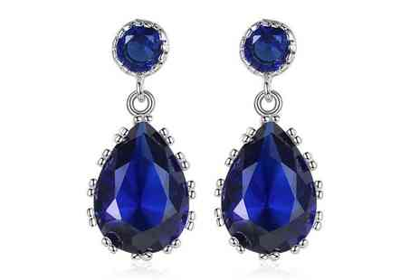 Your Ideal Gift - Pair lab created sapphire earrings - Save 0%
