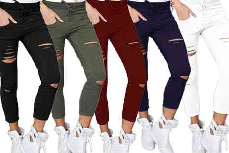 Groupon Goods Global GmbH - One or Two Pairs of Womens Ripped Skinny Stretchy Trouser Leggings - Save 0%