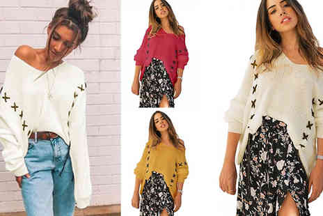 Hey4beauty - Loose Cross Stitch Jumper Choose from 3 Colours & 3 Sizes - Save 68%