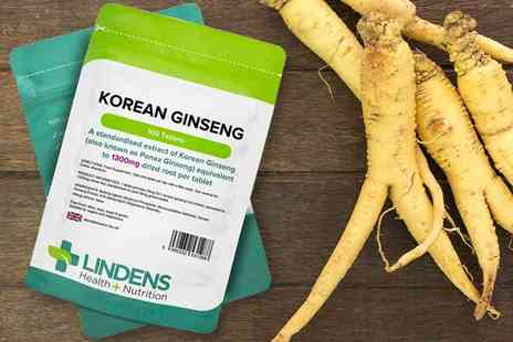 Lindens Health and Nutrition - Three month supply of Korean Ginseng 1300mg tablets - Save 17%