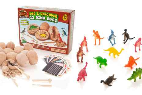 Groupon Goods Global GmbH - Prehistoric World Dig and Discover 12 Dino Eggs with Info Cards - Save 0%