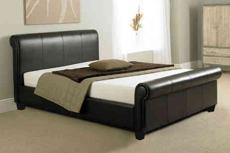 Dining Tables - Tuscany faux leather sleigh bed frame - Save 84%