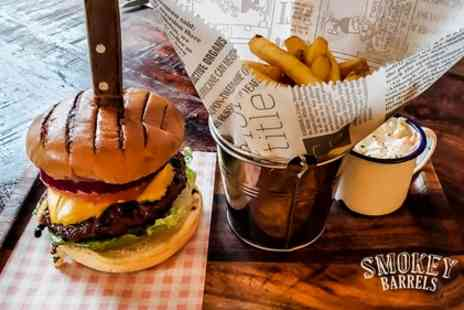 Smokey Barrels - Smokin Barrel Burger with Choice of Drink for One, Two or Four - Save 41%