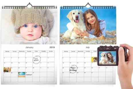Printerpix - Up to Five Personalised A3 Photo Calendars - Save 71%