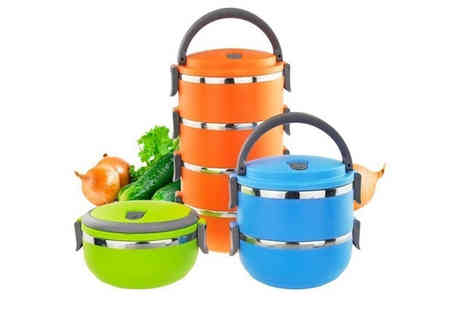 Secret Storz - Set of 1,2,3 or 4 stackable thermal insulated food containers choose from six colours - Save 82%