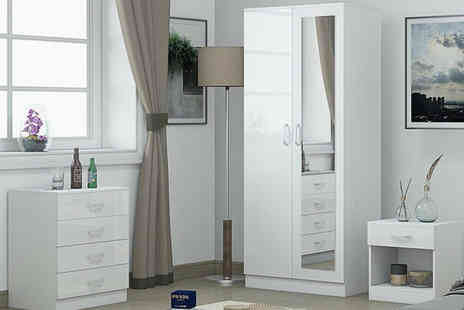 IQGB - Three piece white gloss bedroom furniture set - Save 66%
