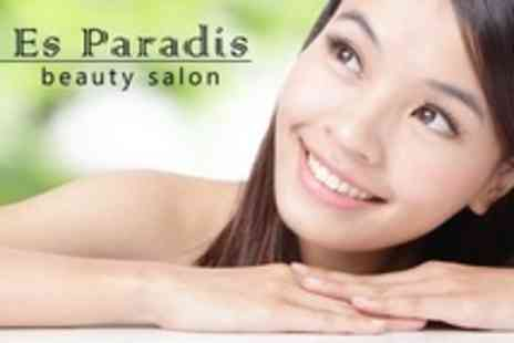 Es Paradis - Facial Plus Luxury Manicure or Pedicure With Sea Salt Back Scrub and Eyebrow Shape - Save 65%
