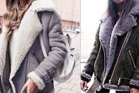 WowWhatWho - Faux Fur Collar Buckle Coat Choose from 4 Colours & 7 Sizes - Save 67%