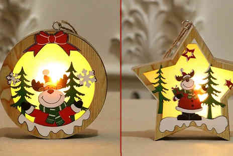 EClife Style - 1 or 3 Glowing Wooden Ornaments Choose from 3 Designs and 2 Styles - Save 75%