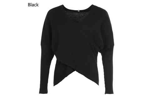 My Blu Fish - Knit V Neck Cross Over Jumper Choose from 4 Colours and 5 Sizes - Save 80%