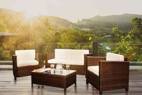 UKFurniture4U - Four piece rattan lounge set or protective rain cover choose from four colours - Save 64%
