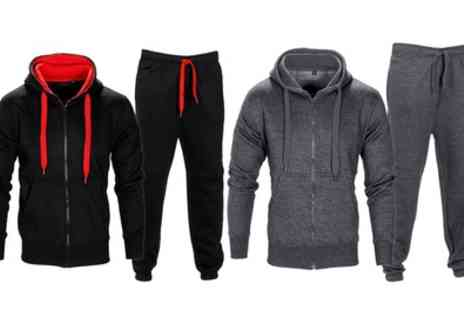 Groupon Goods Global GmbH - Mens Fleece Tracksuit with Drawstring Hood and Waist - Save 0%