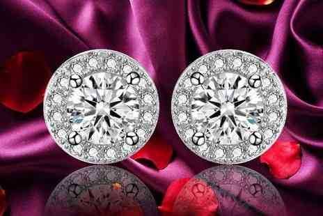 Sreema London - Pair of sterling silver cubic zirconia halo earrings - Save 52%