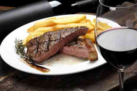 Piccolino - Rib eye steak or sea bass dinner for two with a glass of wine each - Save 60%