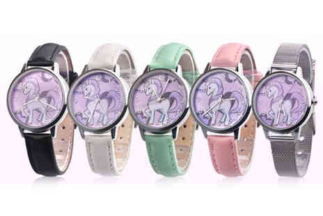 Spezzeee - Childrens unicorn watch choose from white, black, pink, blue or silver - Save 0%