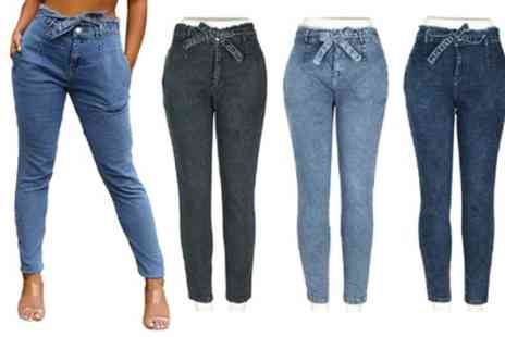 Groupon Goods Global GmbH - Paperbag Stretchy High Waist Jeans - Save 0%
