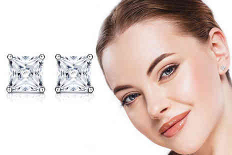 Sreema London - Pair of sterling silver princess cut cubic zirconia stud earrings - Save 54%