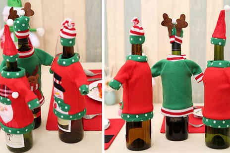 Hey4beauty - 1 or 3 Christmas Wine Bottle Jumper & Hats Choose from 3 Designs - Save 85%