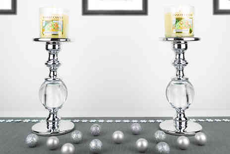 Yankee Bundles - Pair of Yankee Candle Globe Pillar Candlestick Holders - Save 63%