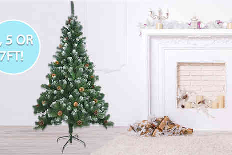Home Vibe - Artificial Christmas Tree With Snow and Cones Choose from 3 Sizes - Save 93%