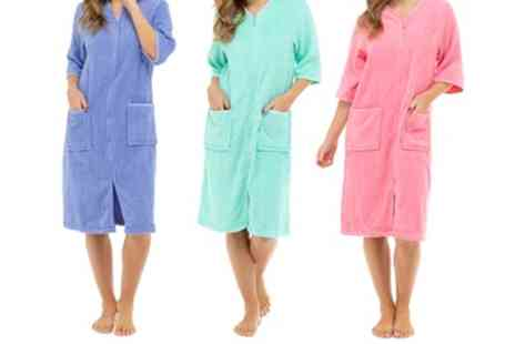 Groupon Goods Global GmbH - One or Two Womens Towel Zip Through Robes in Choice of Colour - Save 0%
