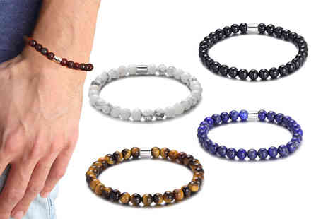 Philip Jones - Mens gemstone stretch bracelet - Save 50%