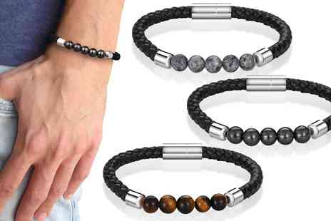 Philip Jones - Mens leather magnetic bracelet - Save 56%