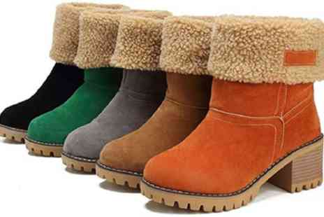 Groupon Goods Global GmbH - Womens Faux Suede Fold Over Block Heeled Boots - Save 60%