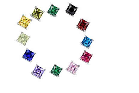 Sreema London - Pair of 925 sterling silver princess cut cubic zirconia stud earrings choose from eleven colours - Save 0%