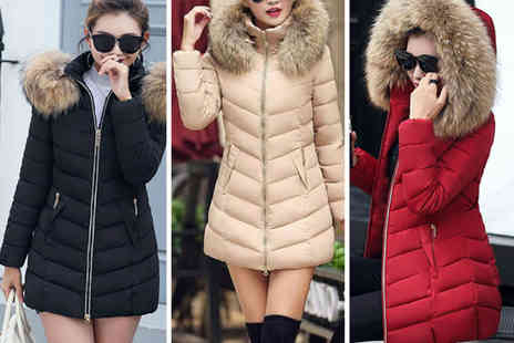 Spezzeee - Winter puffer long line hooded jacket - Save 0%