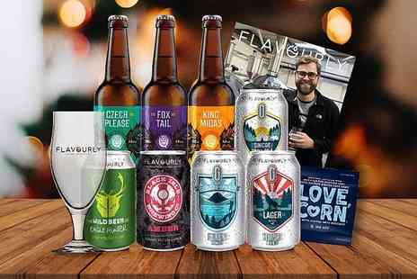 Flavourly - Craft beer hamper including eight beers, a Tasting Glass, snack and magazine - Save 66%