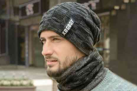 Groupon Goods Global GmbH - Mens Knitted Beanie with Circle Scarf Set - Save 0%