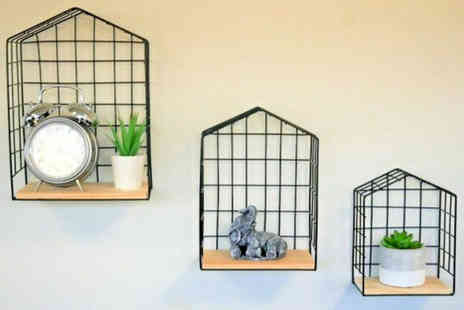 Garden Mile - Set of three black wire wall shelving units - Save 60%