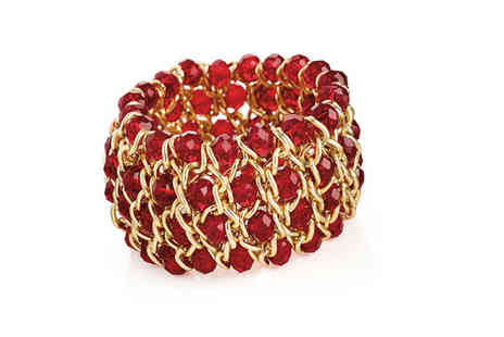 Gemnations - Elasticated gold bracelet with red crystals - Save 0%