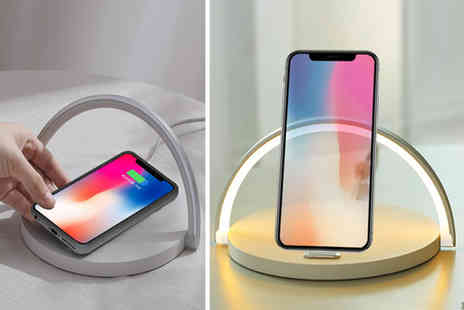 Litnfleek - Three in one wireless charger, lamp and phone stand choose from two colours - Save 74%