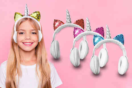 Magic Trend - Pair of childrens magical unicorn headphones choose from four colours - Save 73%