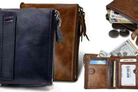 Groupon Goods Global GmbH - One or Two Mens RFID Genuine Leather Wallets - Save 82%